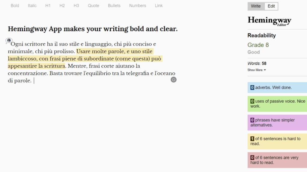 Screenshot Hemingway's App per mostrare come evidenzia gli errori analizzati in un testo.